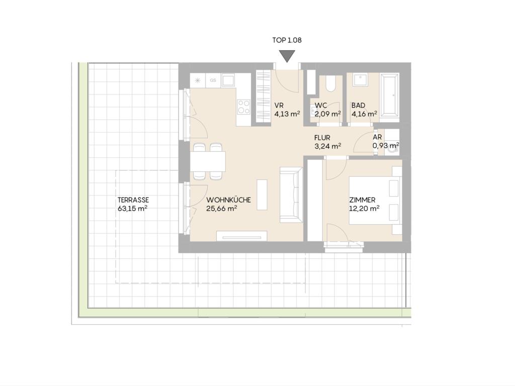 Abbildung des Grundrisses der Wohnung Top 1.08 der St. Georgs Galerien