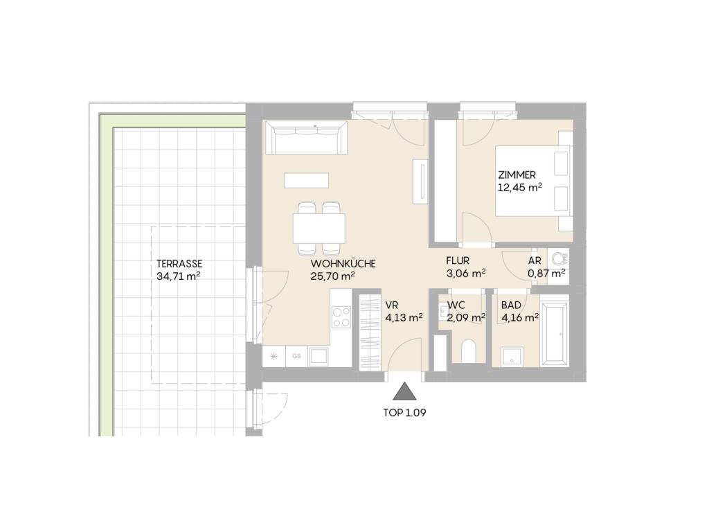 Abbildung des Grundrisses der Wohnung Top 1.09 der St. Georgs Galerien