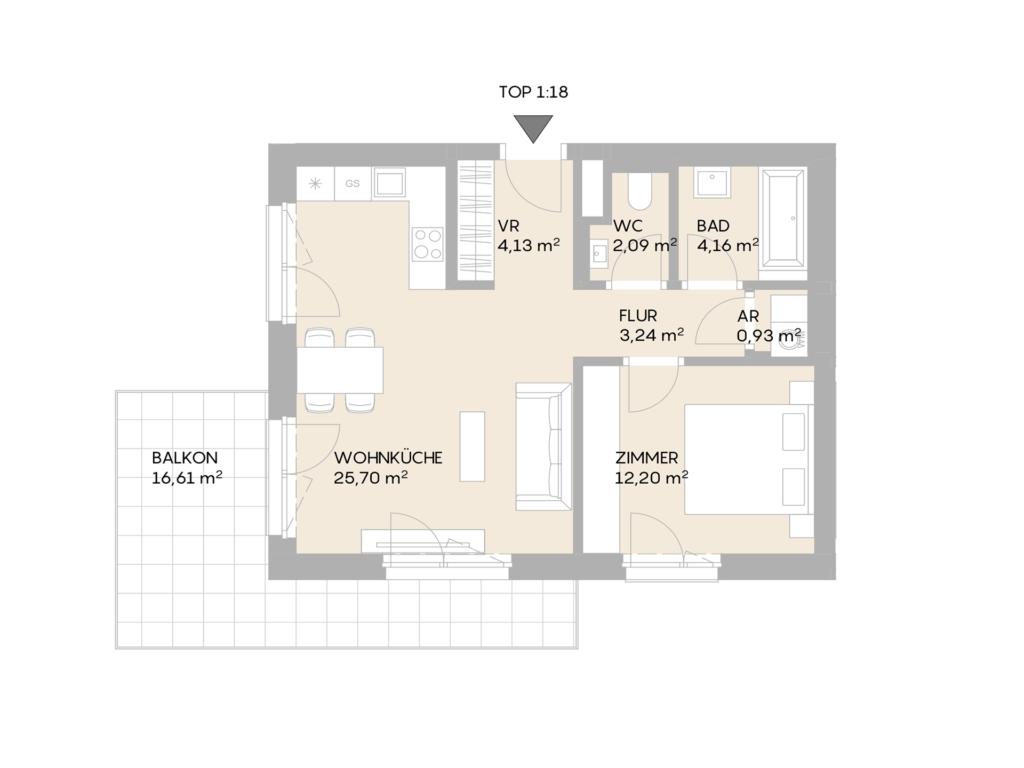 Abbildung des Grundrisses der Wohnung Top 1.18 der St. Georgs Galerien