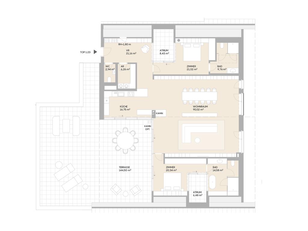 Abbildung des Grundrisses der Wohnung Top 1.23 der St. Georgs Galerien