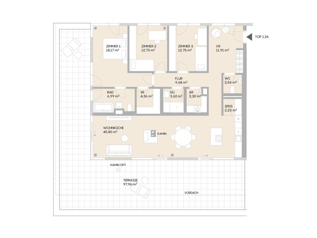 Abbildung des Grundrisses der Wohnung Top 1.26 der St. Georgs Galerien