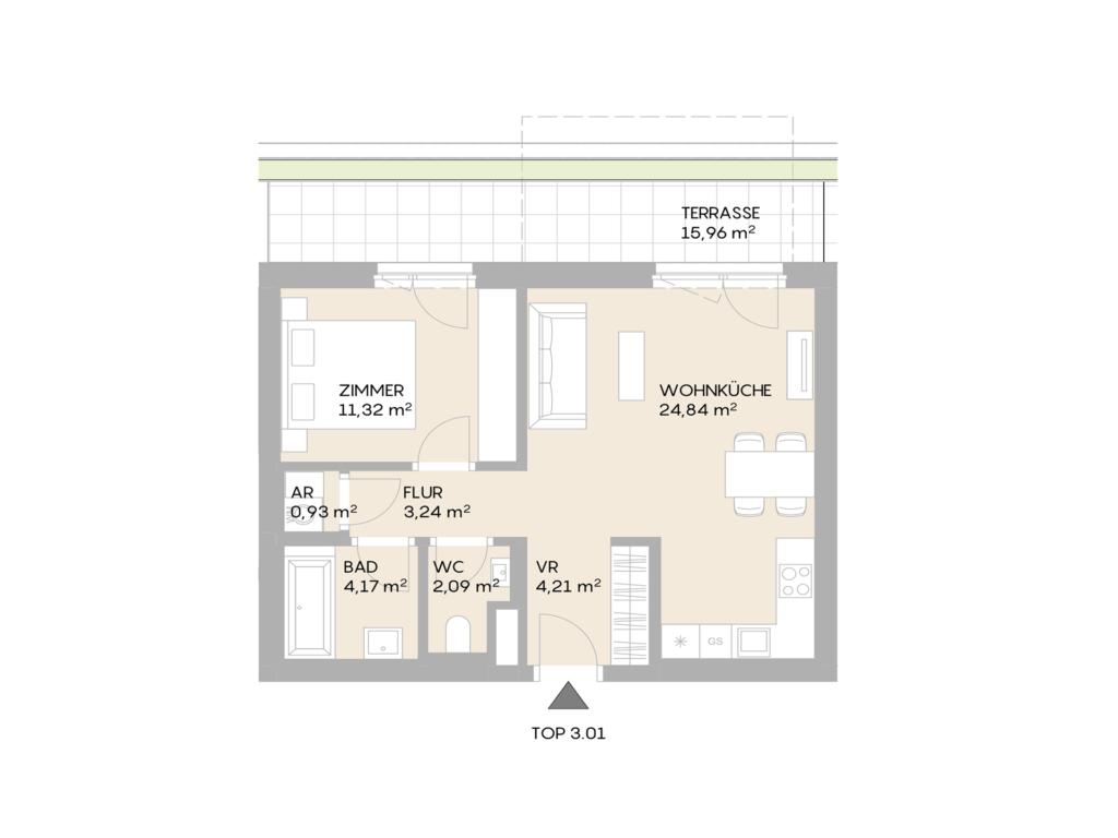 Abbildung des Grundrisses der Wohnung Top 3.01 der St. Georgs Galerien