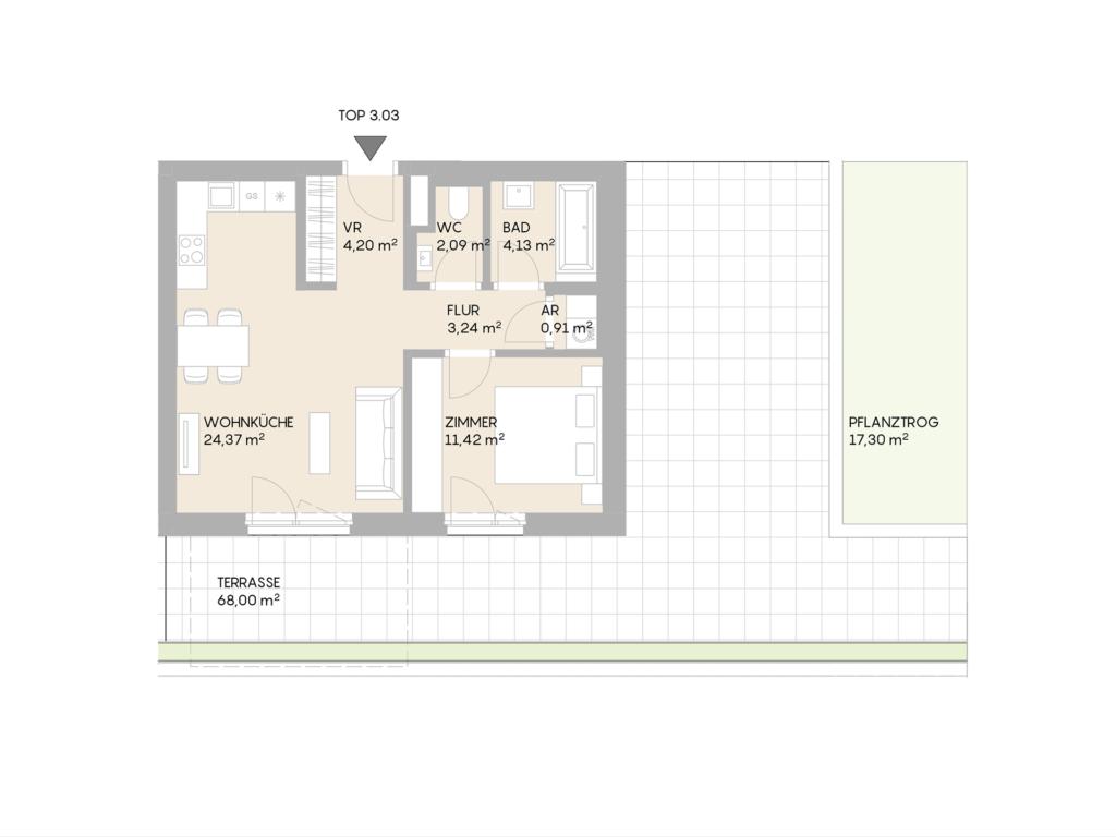 Abbildung des Grundrisses der Wohnung Top 3.03 der St. Georgs Galerien