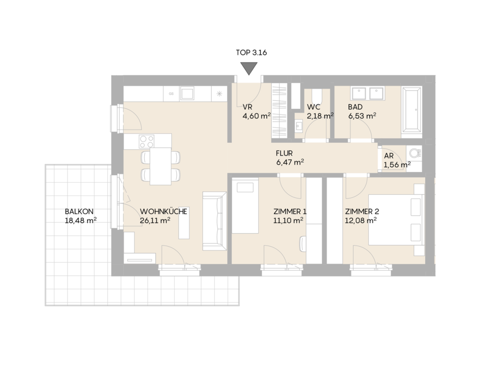 Abbildung des Grundrisses der Wohnung Top 3.16 der St. Georgs Galerien
