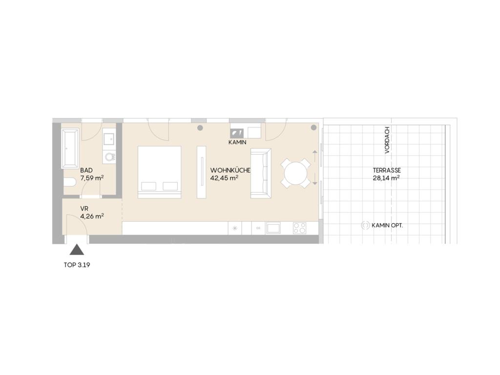 Abbildung des Grundrisses der Wohnung Top 3.19 der St. Georgs Galerien