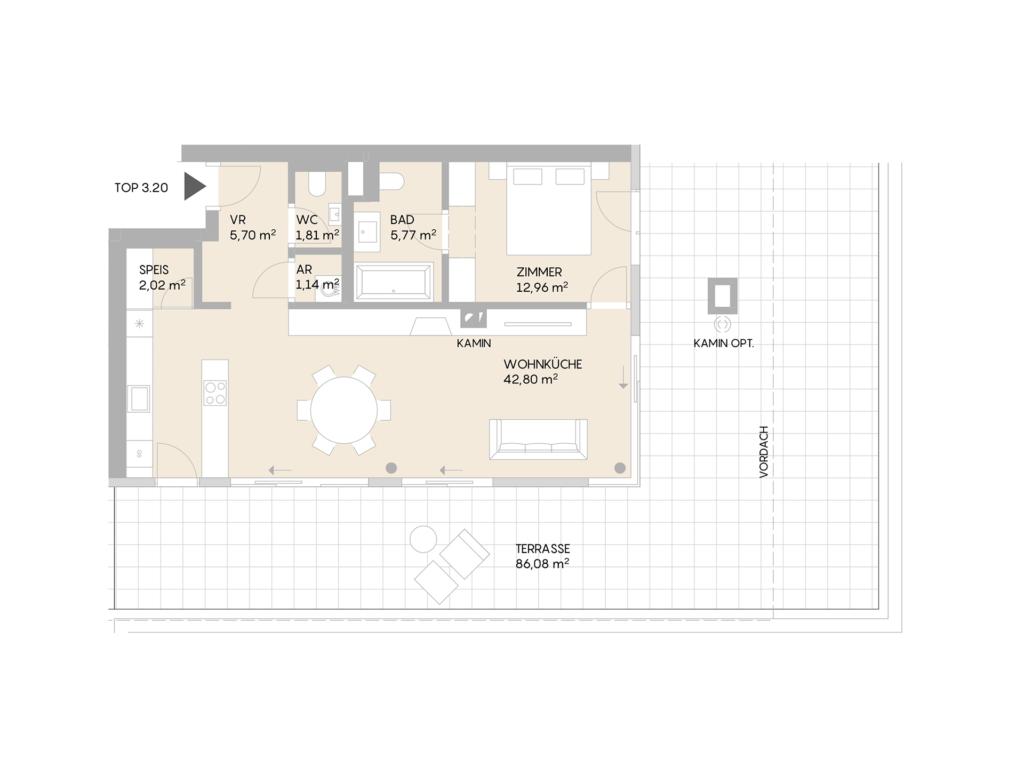 Abbildung des Grundrisses der Wohnung Top 3.20 der St. Georgs Galerien