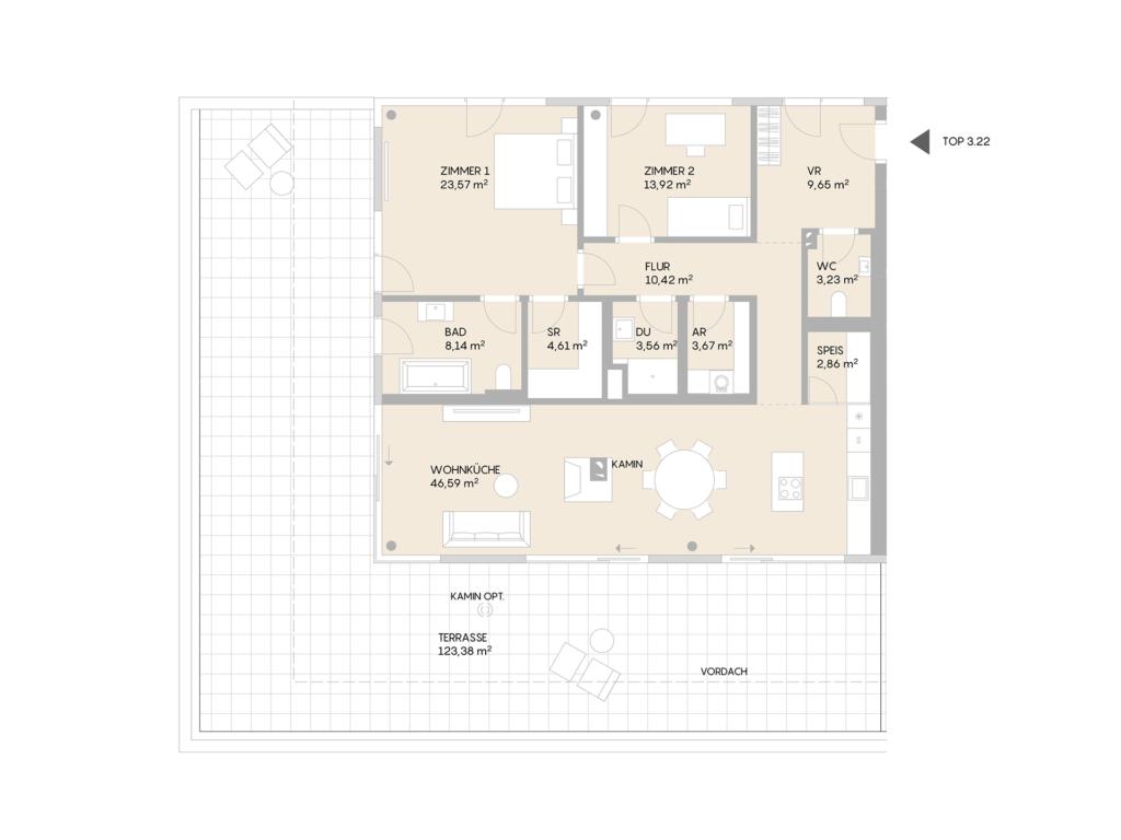 Abbildung des Grundrisses der Wohnung Top 3.22 der St. Georgs Galerien