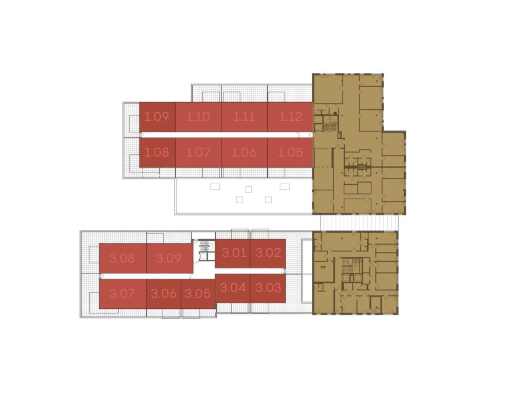 Abbildung des Grundrisses des 1. Obergeschosses der St. Georgs Galerien