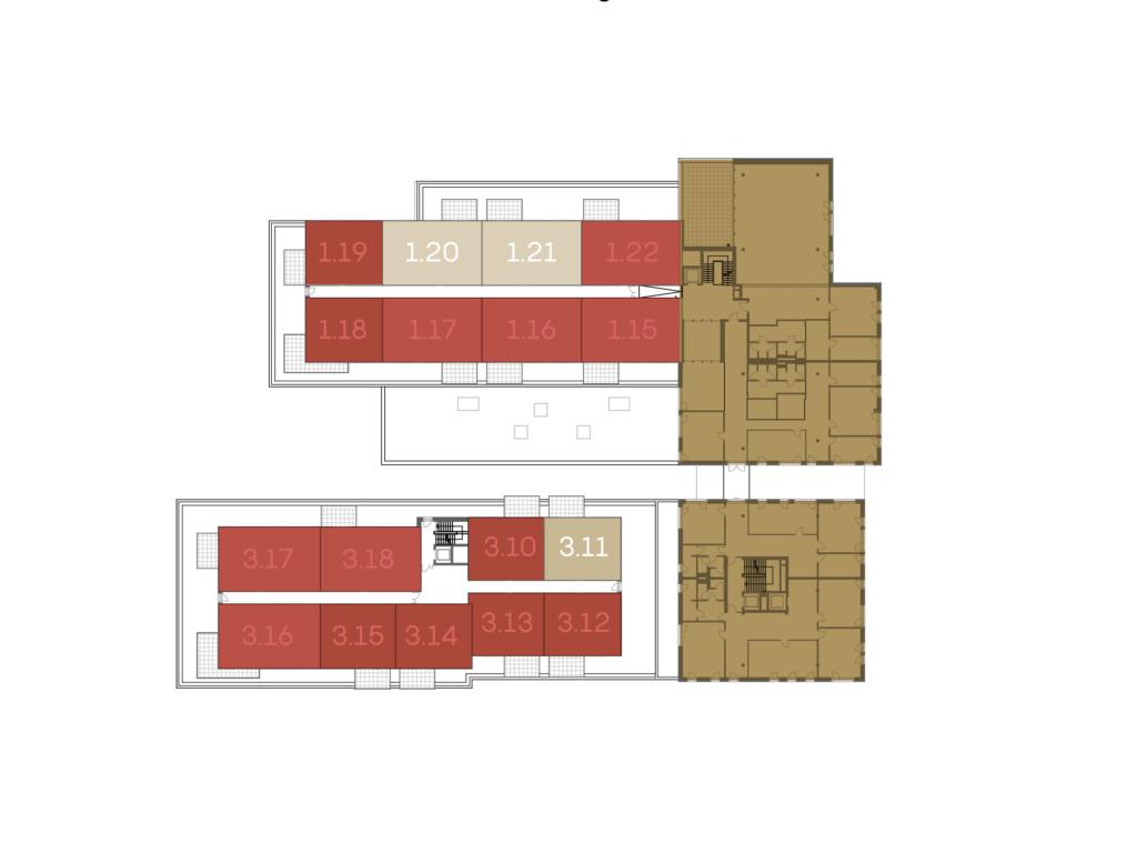 Abbildung des Grundrisses des 2. Obergeschosses der St. Georgs Galerien