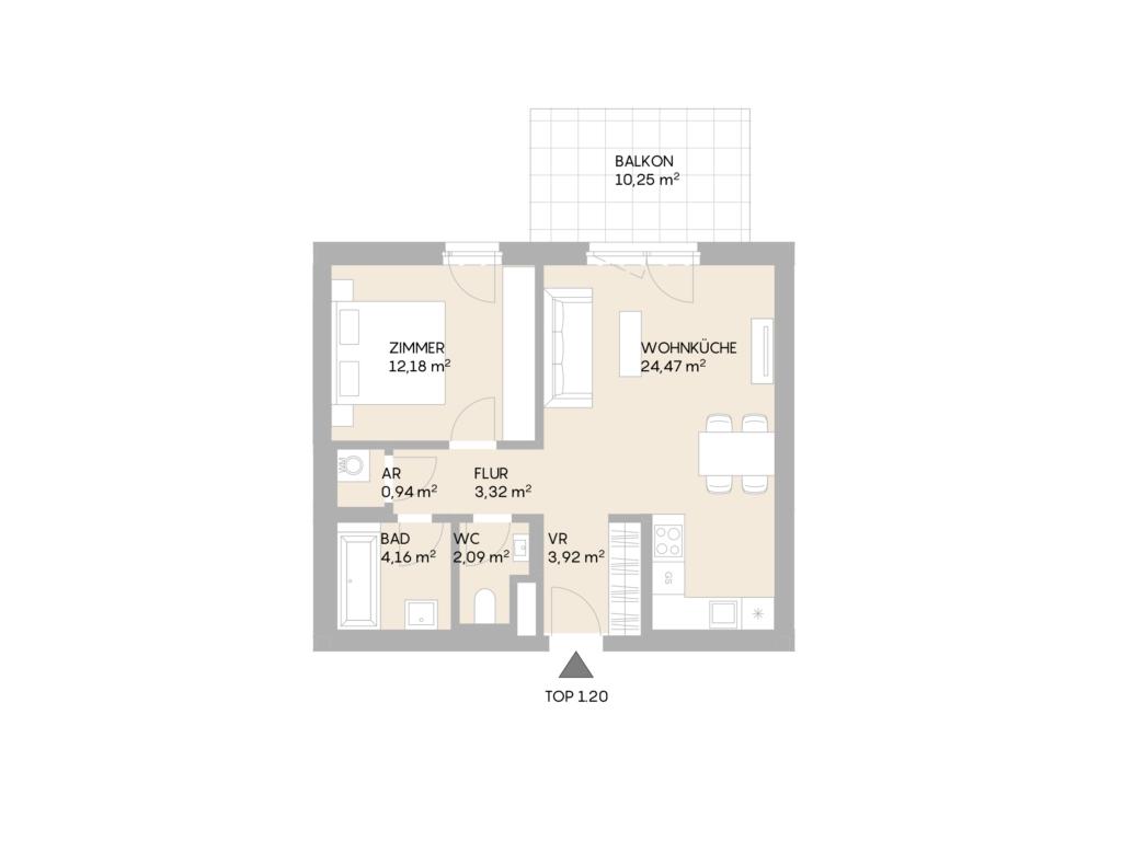 Abbildung des Grundrisses der Wohnung Top 1.20 der St. Georgs Galerien