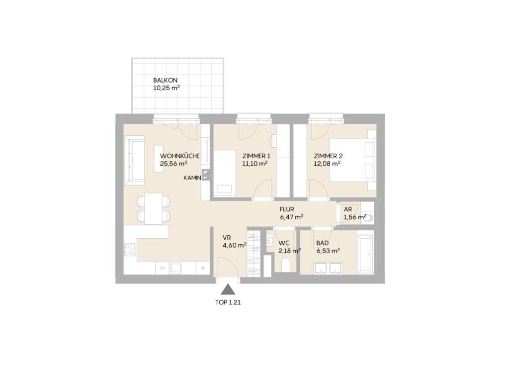 Abbildung des Grundrisses der Wohnung Top 1.21 der St. Georgs Galerien