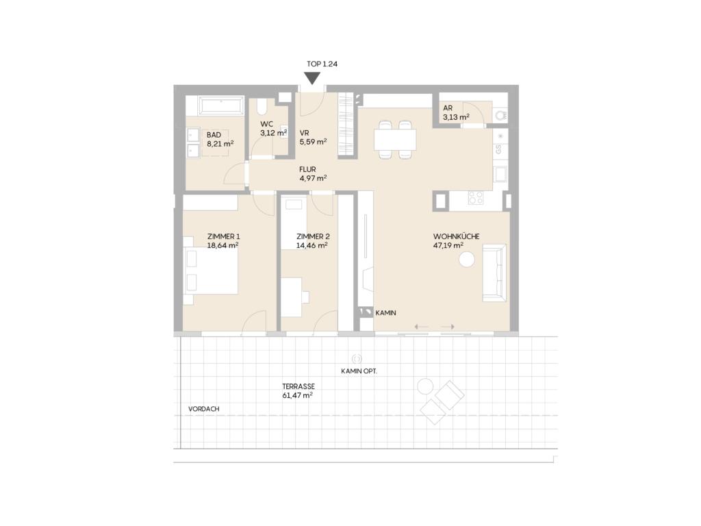 Abbildung des Grundrisses der Wohnung Top 1.24 der St. Georgs Galerien