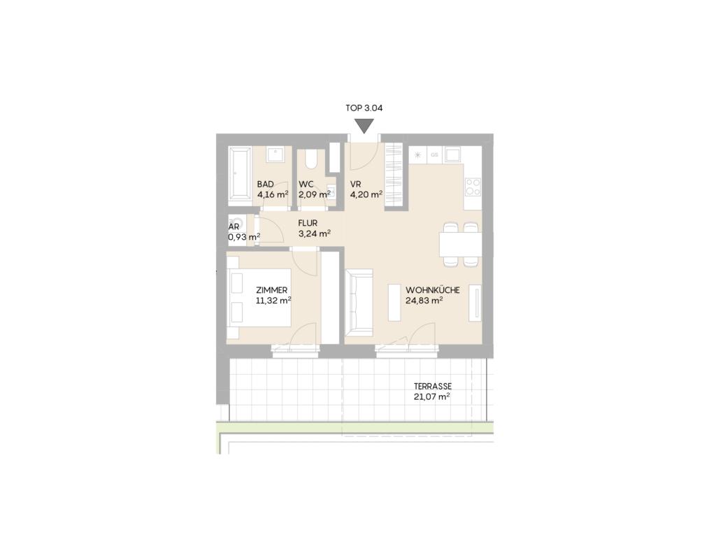 Abbildung des Grundrisses der Wohnung Top 3.04 der St. Georgs Galerien