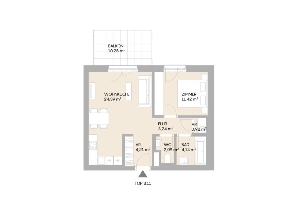 Abbildung des Grundrisses der Wohnung Top 3.11 der St. Georgs Galerien